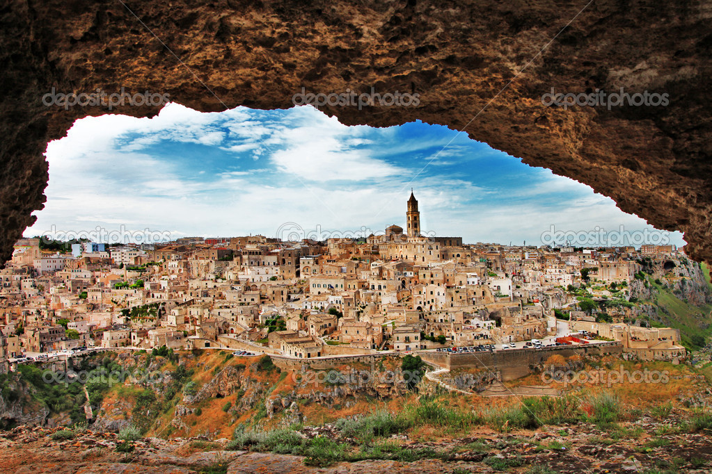 Matera - ancient cave city. Italy,Basilicata (view from cave)