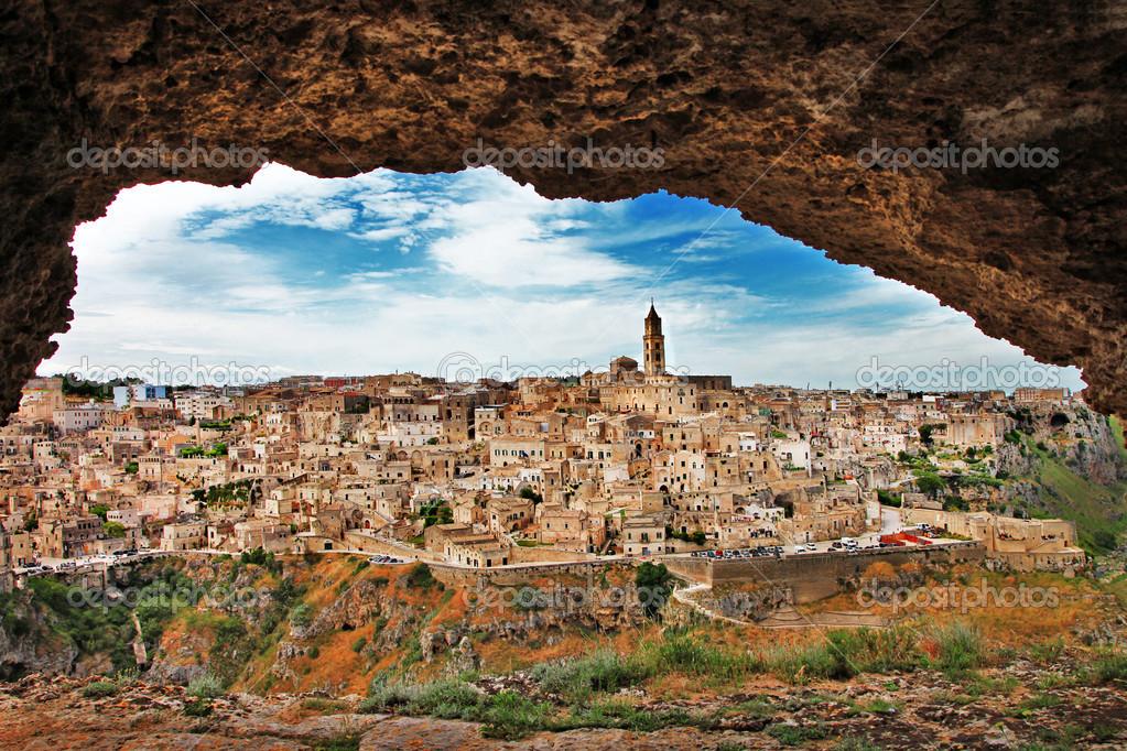 Matera - ancient cave city. Italy,Basilicata (view from cave)